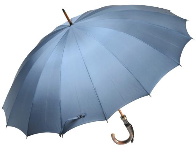 前原光榮商店 おしゃれで丈夫な無地16本骨雨傘 TRAD-16(ブルーグレー) 前原傘 かさ 皇室御用達前原光栄商店製 紳士用 男