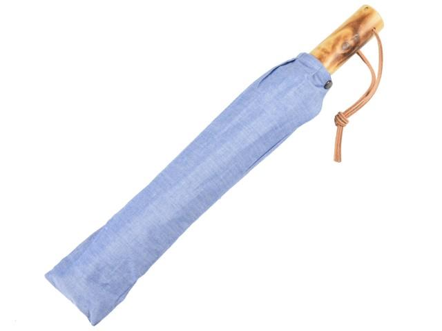 かさ工房ワカオ 晴雨兼用 折りたたみ傘 男の日傘 シャンブレー(ブルー) UVカット 日本製 Tokyo Made WAKAO メンズ 日傘男子