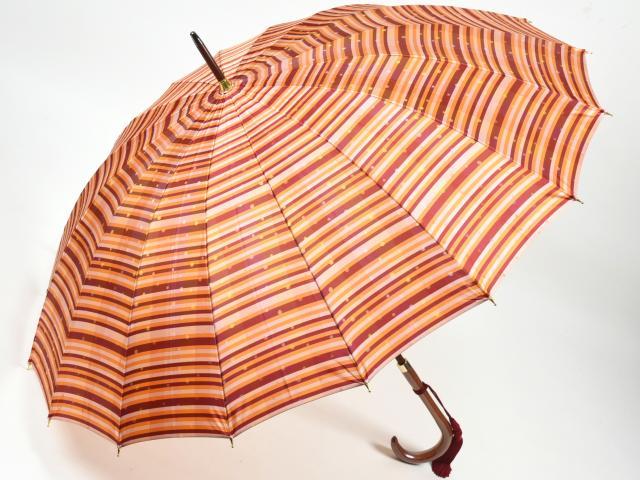 前原光榮商店 ストライプ柄婦人用カーボン16本骨雨傘 あられ-Carbon(オレンジ) 前原傘 かさ 皇室御用達前原光栄商店製