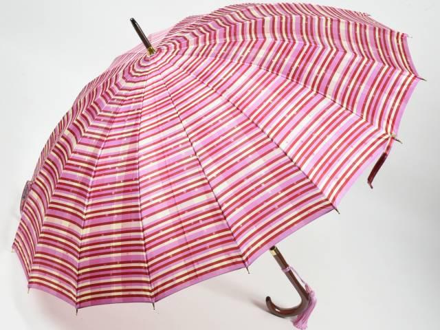 前原光榮商店 ストライプ柄婦人用カーボン16本骨雨傘 あられ-Carbon(ピンク) 前原傘 かさ 皇室御用達前原光栄商店製