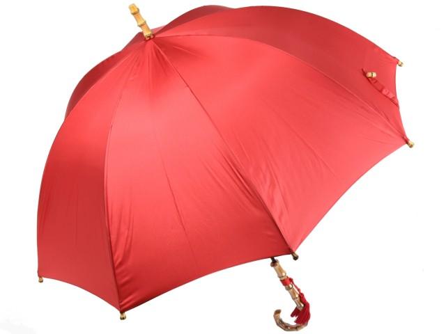 かさ工房ワカオ レディース長傘 深張り雨傘 バンブーハンドル 8本骨 レッド 日本製 親骨60cm おしゃれ 寒竹 手元 Tokyo Made WAKAO 婦人 女 送料無料
