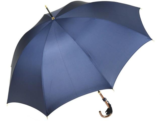 かさ工房ワカオ おしゃれなレディース長傘 細巻ラタン調ハンドル 8本骨 日本製雨傘 (ネイビー) 親骨55cm Tokyo Made WAKAO 婦人 女 送料無料