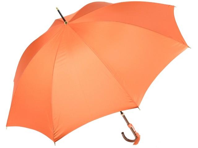 かさ工房ワカオ おしゃれなレディース長傘 細巻ラタン調ハンドル 8本骨 日本製雨傘 (オレンジ) 親骨55cm Tokyo Made WAKAO 婦人 女 送料無料
