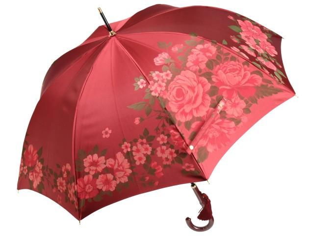おしゃれなジャガード8本骨長傘 絵おり 大薔薇/おおばら(レッド) 槙田商店 甲州織 日本製雨傘 レディース 女