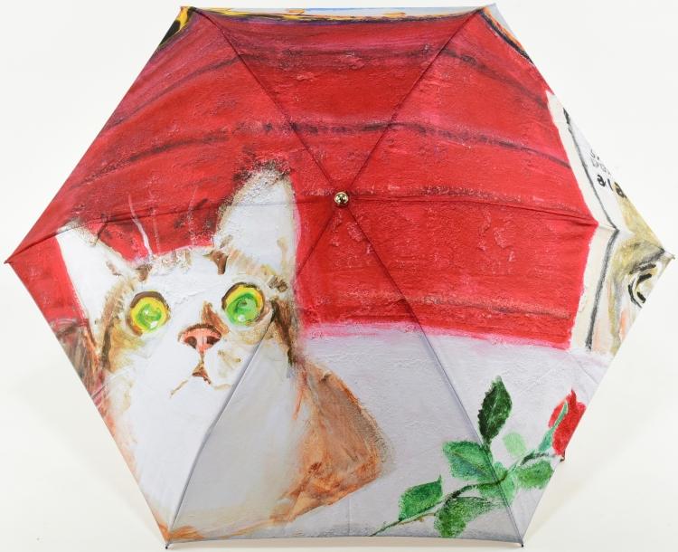 おトク かわいい猫の絵でお馴染のアートブランドManhattaner'sのコンパクトな三段式折りたたみ傘 レディース折りたたみ傘 訳あり ミニ傘 マンハッタナーズ Manhattaner's 婦人用かさ 闘牛場に再び ミケランジェロ 耐風傘 雨傘 女