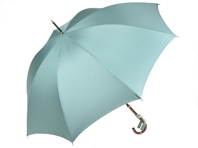 かさ工房ワカオ おしゃれなレディース長傘 細巻ラタン調ハンドル 8本骨 日本製雨傘 (エメラルドグリーン) 親骨55cm Tokyo Made WAKAO 婦人 女 送料無料