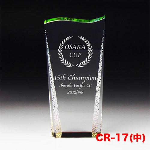 クリスタルトロフィー CR-17(中) 特殊な波加工 ゴルフ スポーツ 優勝 記念品《文字入れ無料》