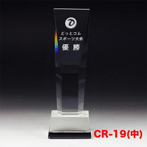 クリスタルトロフィー CR-19(中) 斜面デザイン ゴルフ スポーツ 優勝 記念品《文字入れ無料》