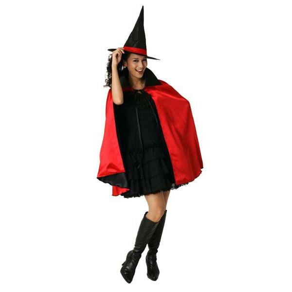 お手持ちの洋服に羽織るだけで魔法使いに大変身! 2カラーマント(レッド)!男女兼用!(cs0044)