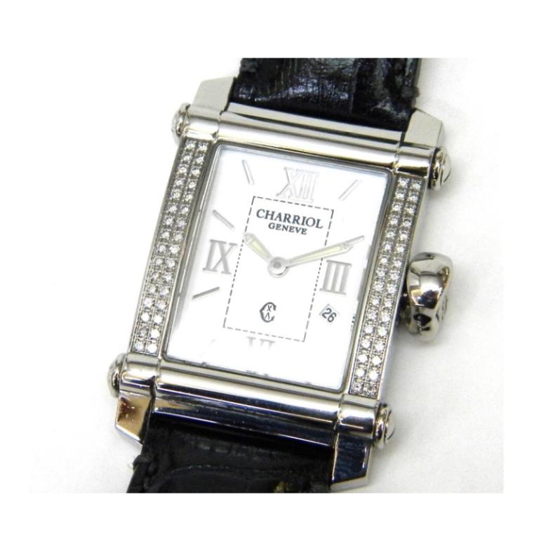 フィリップシャリオール CHARRIOL 腕時計 コロンブス クオーツ ダイヤベゼル 黒革ベルト(非純正) 白盤 SS【中古】(38035)