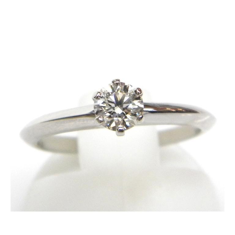 ティファニー 指輪 ダイヤモンド立爪リング Pt850 0.32ct H-VVS2-EX #9【中古】(18179)(18179)