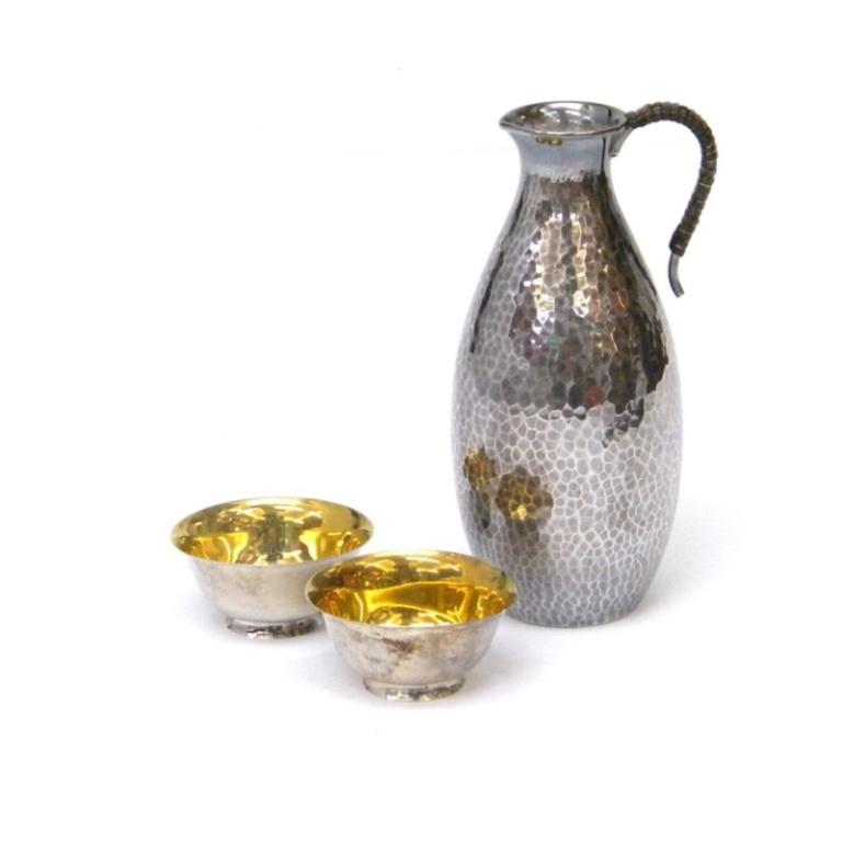 徳利&お猪口セット /徳利:純銀、お猪口:銀製(約95%) 【中古】(38549)(38549)