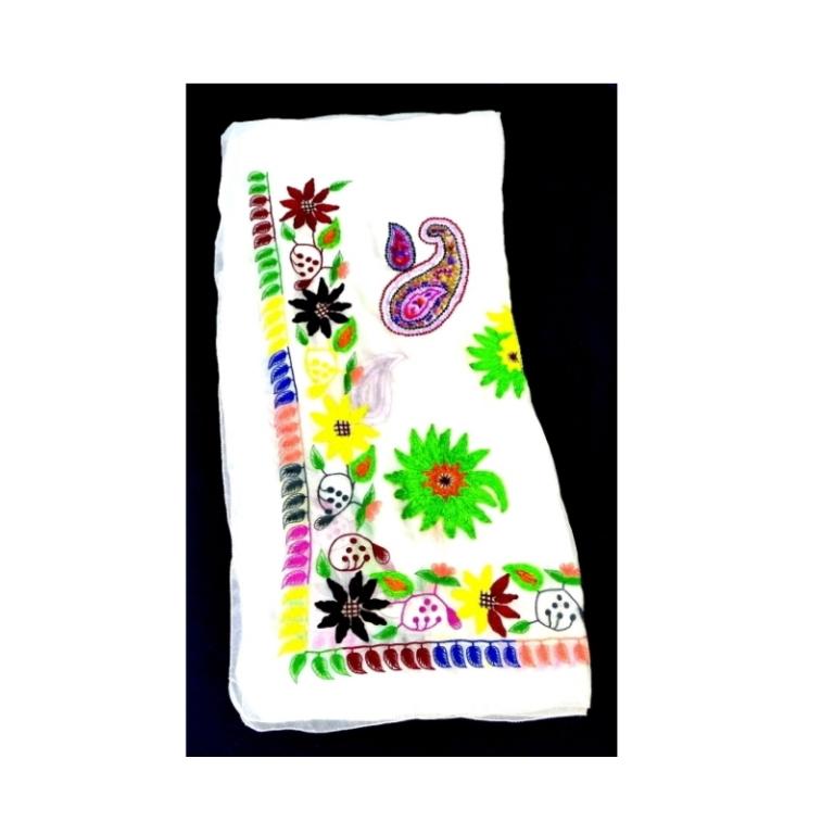 エトロ ETRO スカーフ ストール 刺繍 スパンコール 花 シルク100% レディース(39212)
