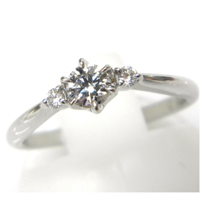 スタージュエリー STARJEWELRY 指輪 ダイヤモンドソリテアリング Pt950 #9 0.219ct F-VS2-EX 0.05ct T.Sイニシャル入り【中古】(21190)