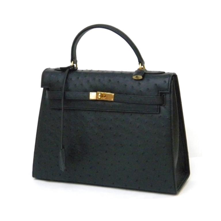 ハンドバッグ 一本手 黒×ゴールド金具 オーストリッチ 【中古】(40033)