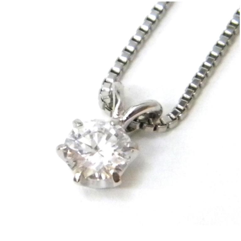 ペンダントネックレス ダイヤモンド 0.304ct D-SI2-G Pt850 3.4g 40cm 【中古】(44835)