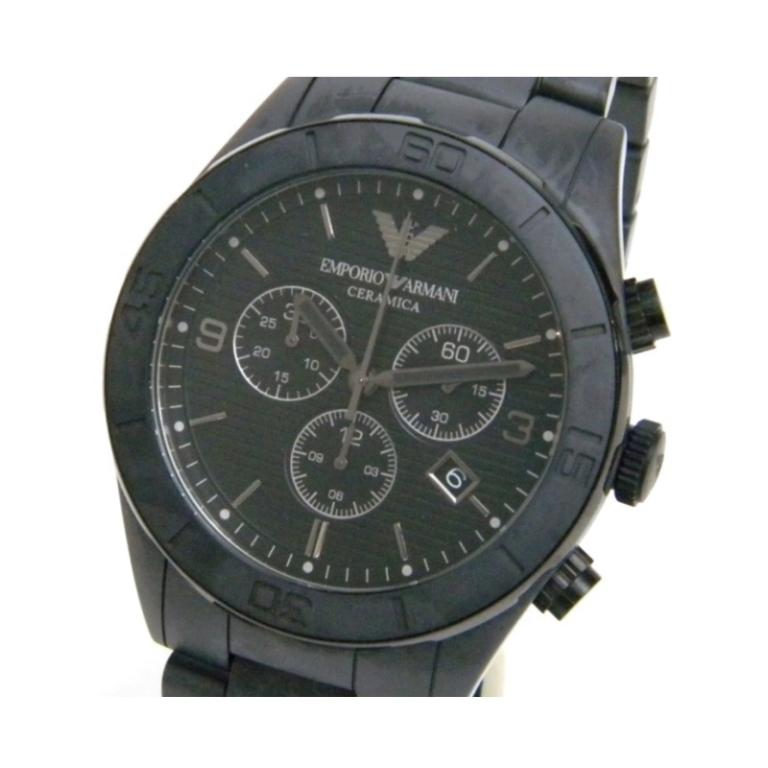 エンポリオアルマーニ EMPORIO ARMANI メンズウォッチ 腕時計 クオーツ クロノグラフ SS AR-1458 黒 ステンレススチール 【中古】(40964)