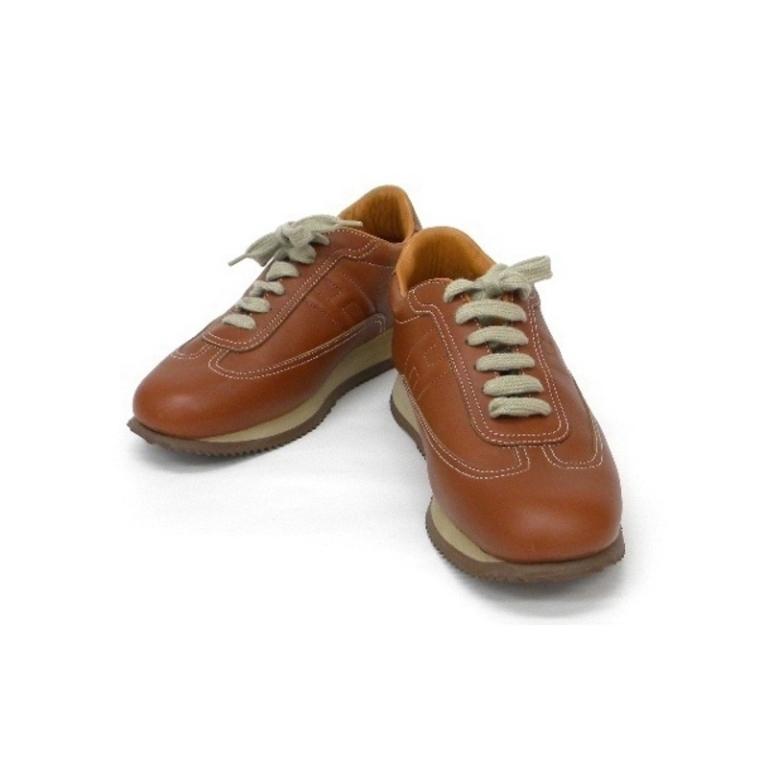 靴 エルメス クイック スニーカー ゴールド(ブラウンオレンジ)37・1/2【中古】(12944)(12944)