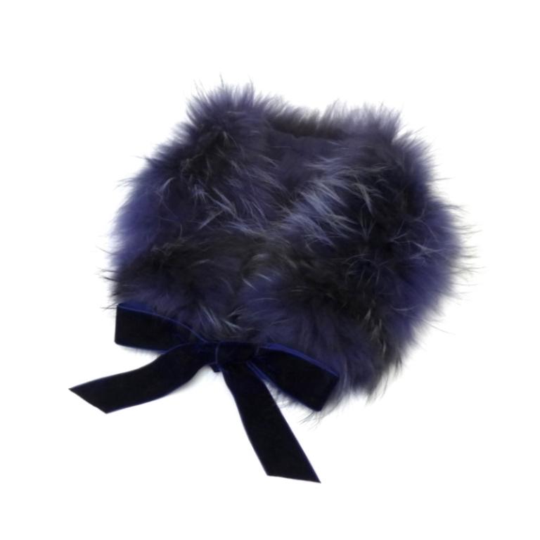 ブルーガール blugirl ティペット 襟巻き リボン フォックスファー ネイビー 【中古】(41634)