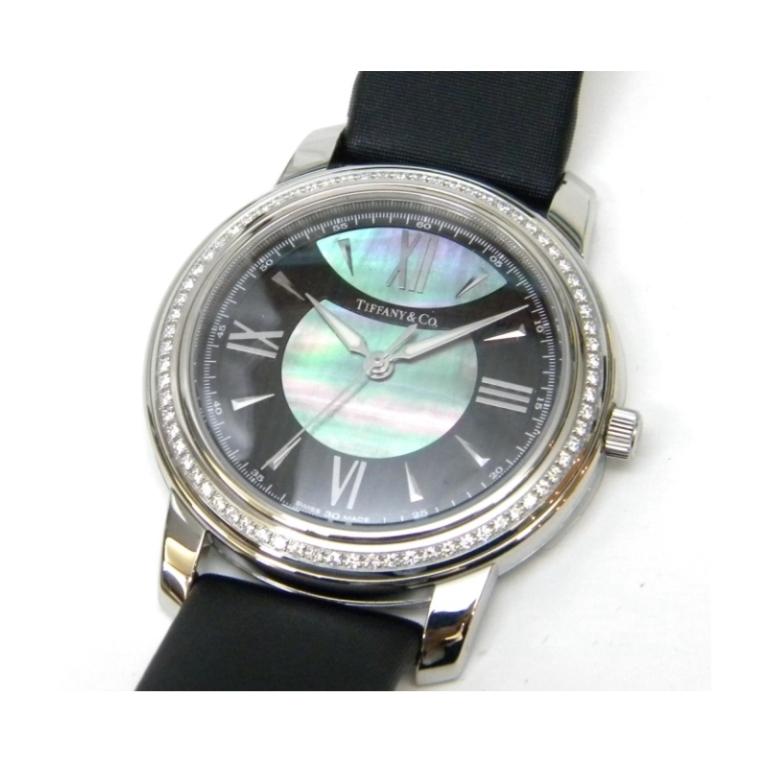 ティファニー レディースウォッチ 腕時計 マーク ダイヤベゼル クオーツ ブラックパール文字盤 【中古】(41810)