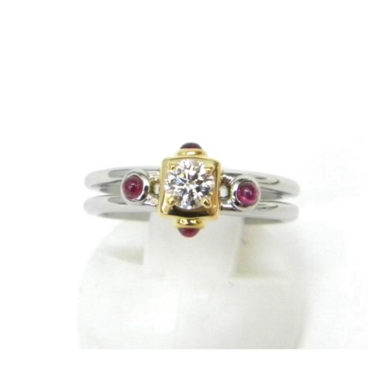 クリスチャン・ディオール 指輪 ダイヤモンドリング 0.225ct D・VVS2・EX /Pt950、750YG 【中古】(42018)