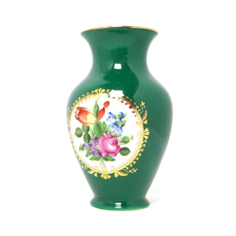 ヘレンド 花びん フラワーベース グリーン 磁器 インテリア 花瓶 【中古】(22962)(22962)