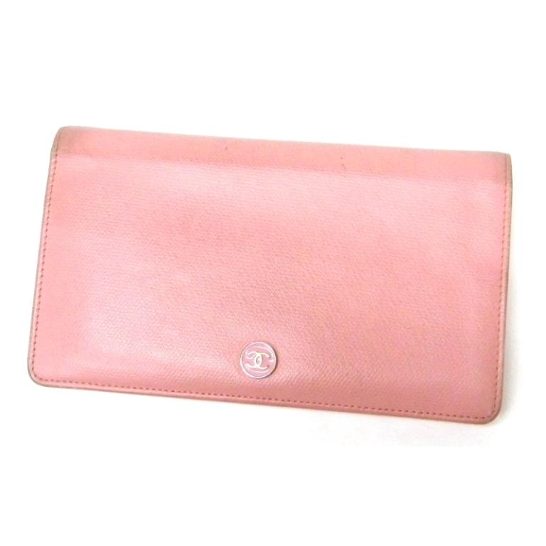 e33598dba707 シャネルCHANEL長財布丸ボタンピンク型押しレザーギャランティカードなしナンバーシールあり