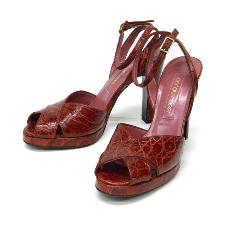 セルジオロッシ sergio rossi 靴 サンダル アンクルストラップ クロコダイル 2 送料無料 オリジナル 1 全品送料無料 35 24484 ブラウン