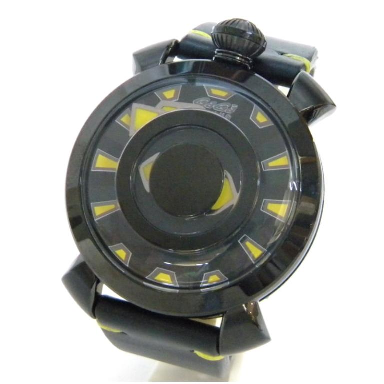 ガガミラノ 腕時計 マヌアーレ48MM ミステリーユース 自動巻 黒×イエロー 【中古】(46074)
