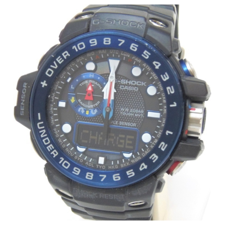 カシオ Casio メンズウォッチ 腕時計 G-SHOCK 電波ソーラー GWN-1000B 黒×ブルー 【中古】(34387)