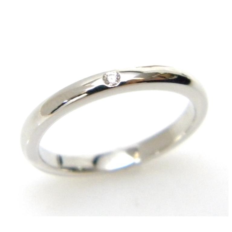 ティファニー TIFFANY&Co. ジュエリー 指輪 スタッキングバンドリング Pt950 0.02ct #15.5(号) 【送料無料(27036)