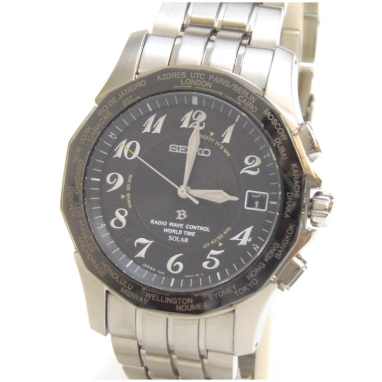 セイコー SEIKO メンズウォッチ 腕時計 ソーラー電波 ブライツ 7B25-0AA0 黒盤 チタン 【中古】(48187)