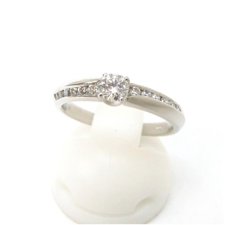 指輪 ダイヤモンドリング 0.222ct、G、VS2、EX 脇0.16ct /プラチナ/Pt995 5.1g 【中古】(48975)