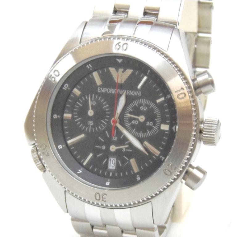 エンポリオ・アルマーニ メンズウォッチ 腕時計 クオーツ AR-0546 黒盤【中古】(49500)