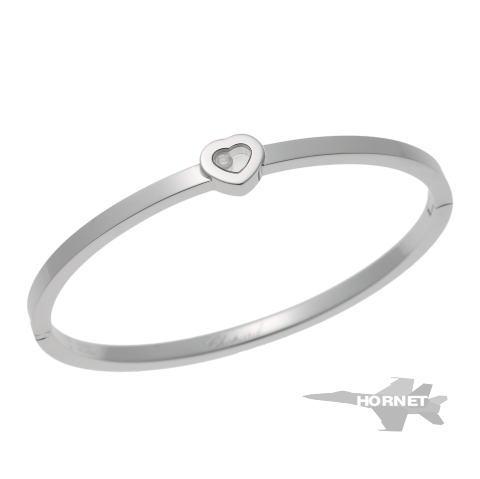 ショパール ハッピーダイヤモンド ハート ブレスレット ホワイトゴールド 750WG 【中古】 1810434