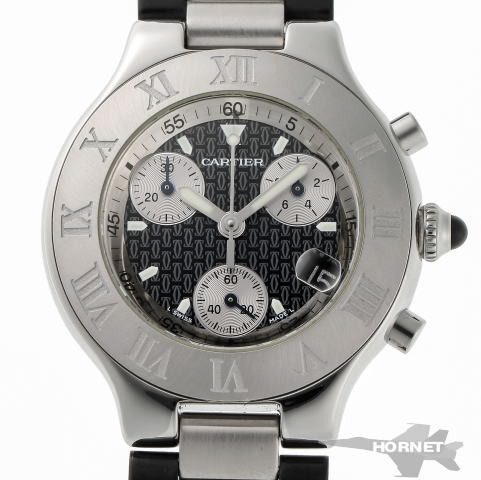 Cartier カルティエ クロノスカフ クォーツ W10125U2 ブラック / シルバー文字盤 SS 【中古】【時計】 1820279