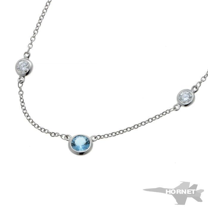 Tiffany&Co. ティファニー バイザヤード アクアマリン ダイヤ ネックレス プラチナ PT950 【中古】【ジュエリー】 1910492
