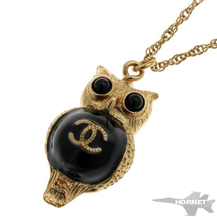 CHANEL シャネル フクロウ ココマーク A18 C ネックレス ブラック 真鍮 【中古】【ジュエリー】 1920127