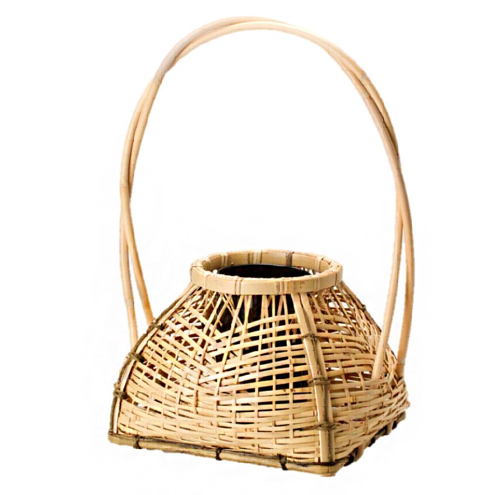 茶道具 花入 籠花入 置籠 白竹 籐長手宗全籠