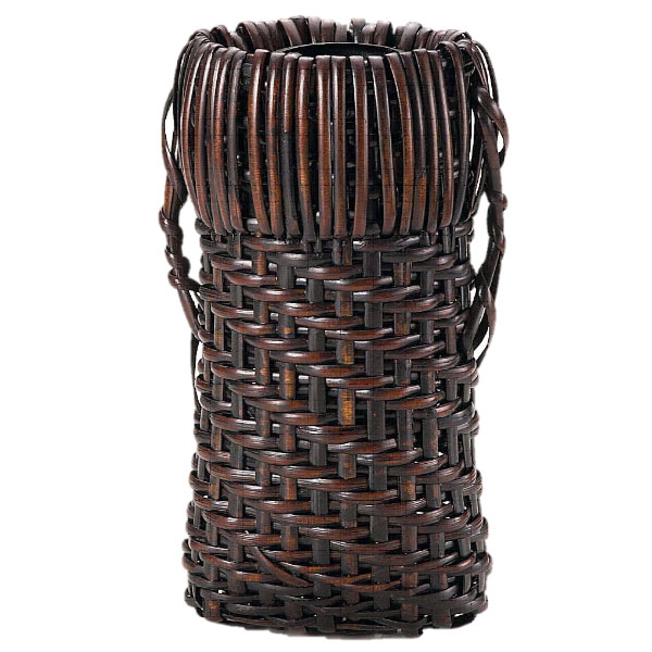 【茶道具 花入】籠花入 掛籠 染竹 籐組時代鉈籠