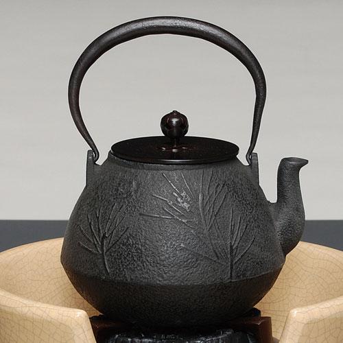 茶道具 鉄瓶 鉄瓶 松地紋