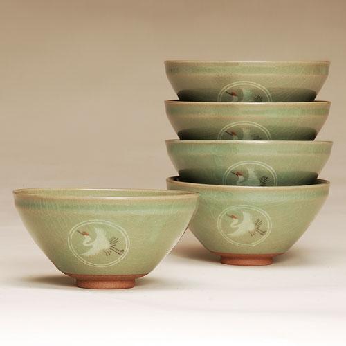 茶道具 抹茶碗 数茶碗 青磁 雲鶴 5客 樹窯作