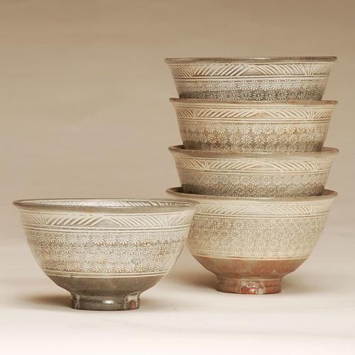 茶道具 抹茶碗 数茶碗 花三島 10客 黒石窯作