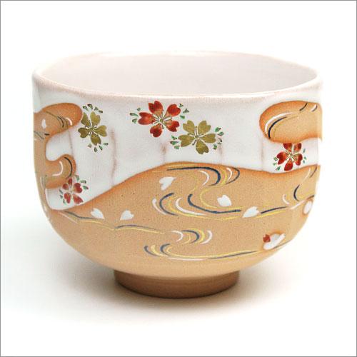 茶道具 抹茶碗 灰釉茶碗 桜流水絵 中村秋峰作