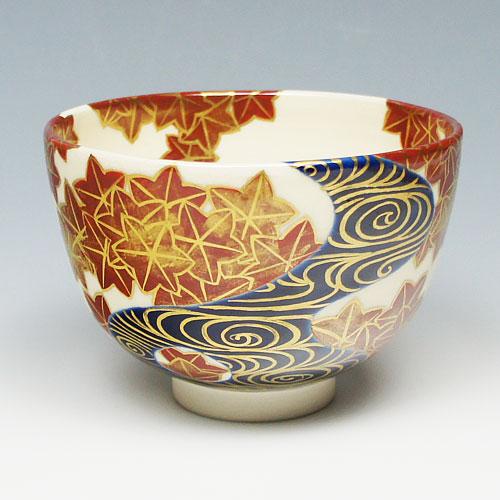 【茶道具 抹茶碗】茶碗 紅葉流水 即全写し 山川敦司作