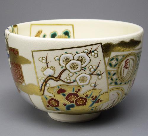 上等な 茶碗 仁清色絵草花 御室窯作, gemstone d19a4779