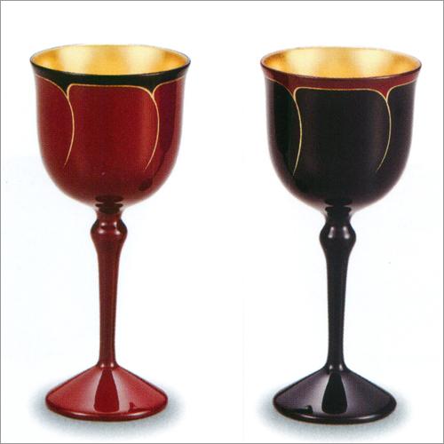 ワインカップ ペア(2個) 花ライン 内 金箔