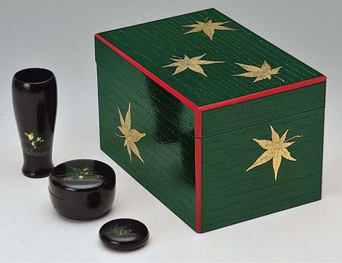 茶道具 茶箱 茶箱セット 青漆爪紅 掻合茶箱 青楓 (棗・香合・茶筅筒付き)