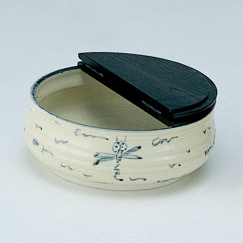 茶道具 水指 平水指 安南トンボ 掻合塗割蓋 加藤五陶作