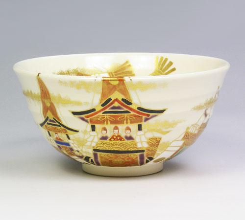 茶道具 抹茶椀 茶碗 色絵 祇園祭 南口閑粋作
